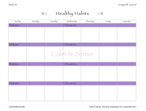 Living Well Journal Page - Healthy Habits,  Lori Kaplan 2012